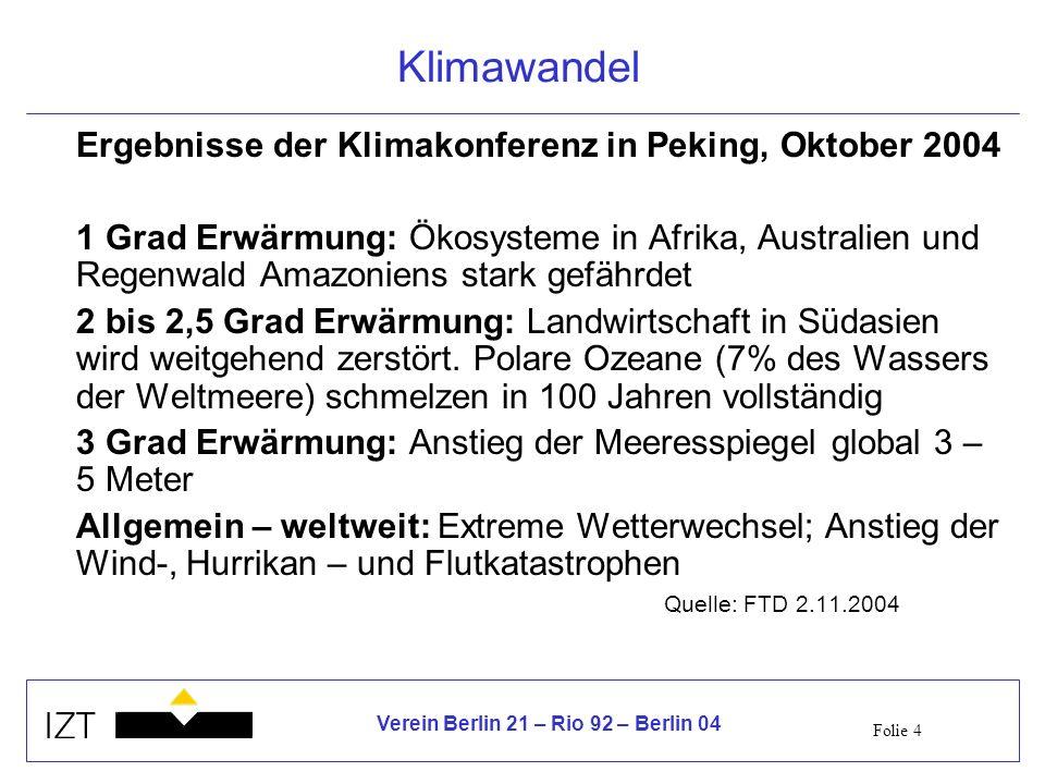 Folie 4 Verein Berlin 21 – Rio 92 – Berlin 04 Klimawandel Ergebnisse der Klimakonferenz in Peking, Oktober 2004 1 Grad Erwärmung: Ökosysteme in Afrika, Australien und Regenwald Amazoniens stark gefährdet 2 bis 2,5 Grad Erwärmung: Landwirtschaft in Südasien wird weitgehend zerstört.