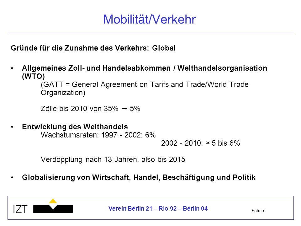 Folie 6 Verein Berlin 21 – Rio 92 – Berlin 04 Mobilität/Verkehr Gründe für die Zunahme des Verkehrs: Global Allgemeines Zoll- und Handelsabkommen / Welthandelsorganisation (WTO) (GATT = General Agreement on Tarifs and Trade/World Trade Organization) Zölle bis 2010 von 35% 5% Entwicklung des Welthandels Wachstumsraten:1997 - 2002: 6% 2002 - 2010: 5 bis 6% Verdopplung nach 13 Jahren, also bis 2015 Globalisierung von Wirtschaft, Handel, Beschäftigung und Politik