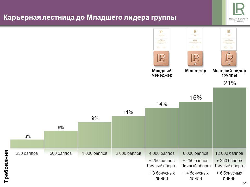 51 Карьерная лестница до Младшего лидера группы Требования 21% 16% 14% 11% 9% 6% 3% 250 баллов500 баллов1.000 баллов2.000 баллов4.000 баллов + 250 бал