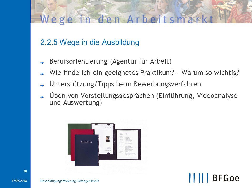 17/05/2014Beschäftigungsförderung Göttingen kAöR 10 2.2.5 Wege in die Ausbildung Berufsorientierung (Agentur für Arbeit) Wie finde ich ein geeignetes