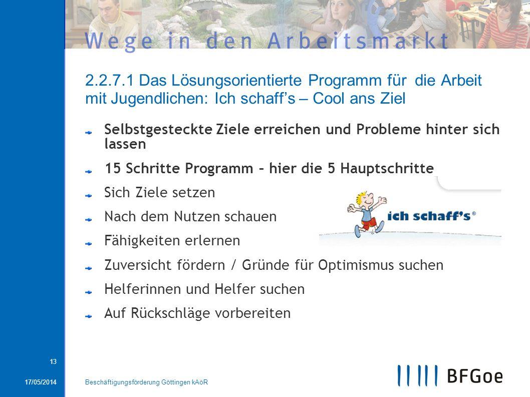 17/05/2014Beschäftigungsförderung Göttingen kAöR 13 2.2.7.1 Das Lösungsorientierte Programm für die Arbeit mit Jugendlichen: Ich schaffs – Cool ans Zi