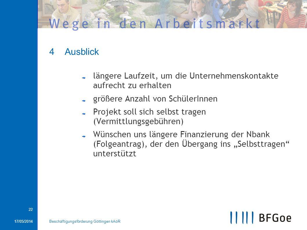 17/05/2014Beschäftigungsförderung Göttingen kAöR 22 4 Ausblick längere Laufzeit, um die Unternehmenskontakte aufrecht zu erhalten größere Anzahl von S