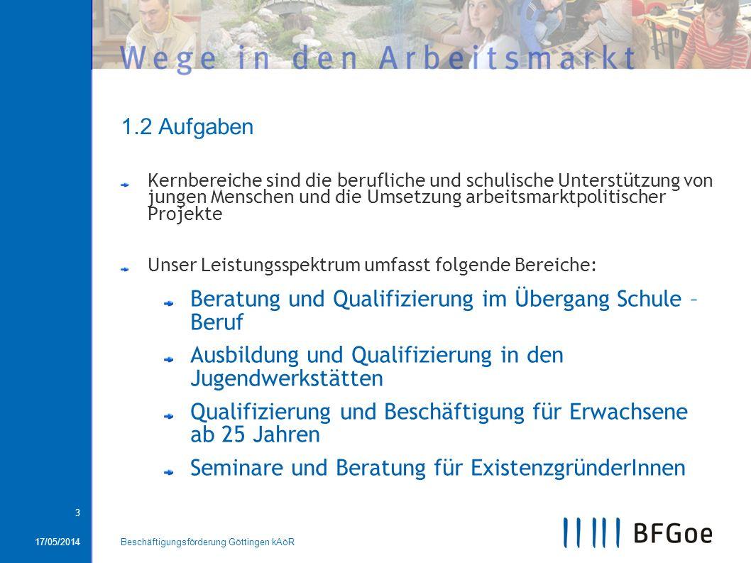 17/05/2014Beschäftigungsförderung Göttingen kAöR 3 1.2 Aufgaben Kernbereiche sind die berufliche und schulische Unterstützung von jungen Menschen und