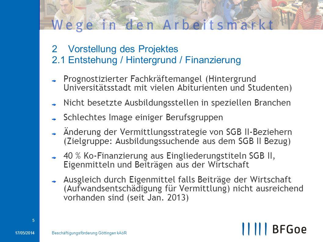 17/05/2014Beschäftigungsförderung Göttingen kAöR 5 2 Vorstellung des Projektes 2.1 Entstehung / Hintergrund / Finanzierung Prognostizierter Fachkräfte