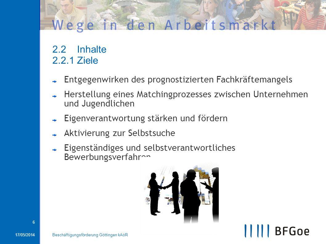 17/05/2014Beschäftigungsförderung Göttingen kAöR 6 2.2 Inhalte 2.2.1 Ziele Entgegenwirken des prognostizierten Fachkräftemangels Herstellung eines Mat
