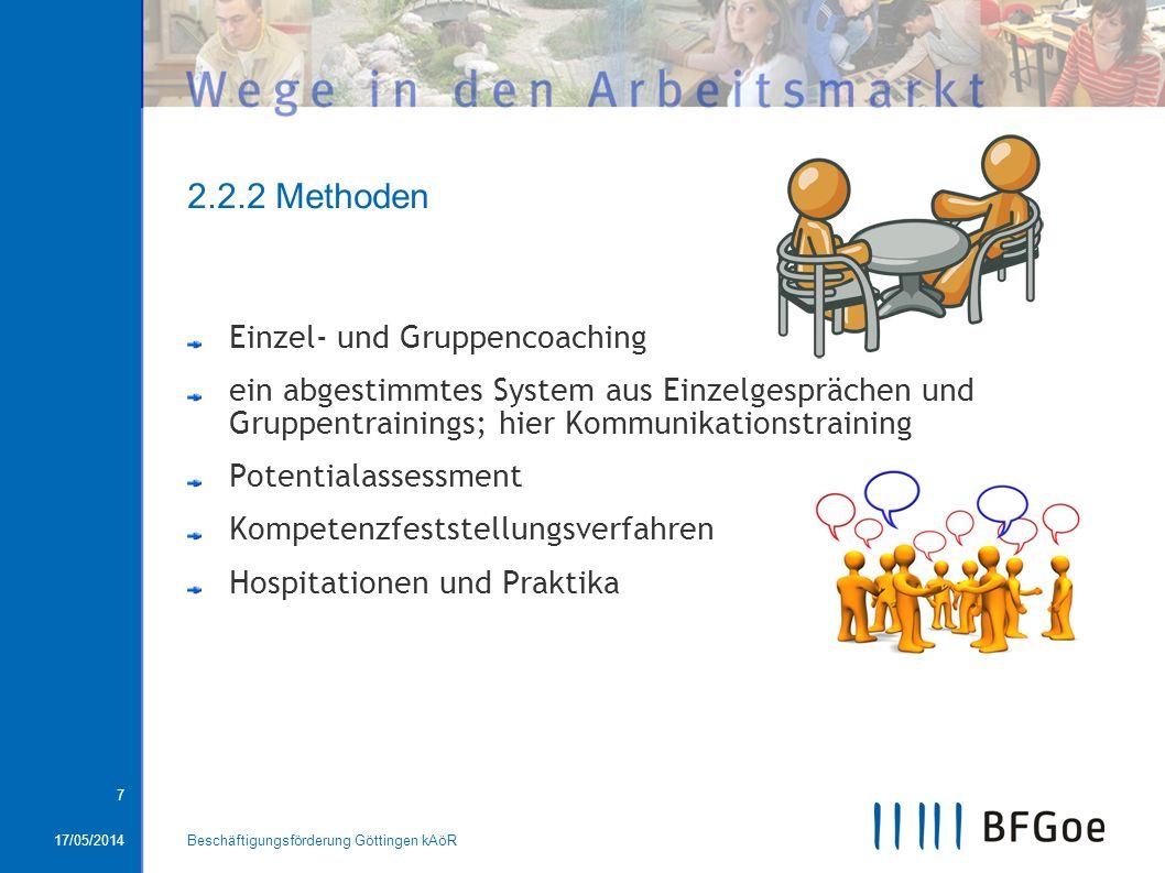 17/05/2014Beschäftigungsförderung Göttingen kAöR 7 2.2.2 Methoden Einzel- und Gruppencoaching ein abgestimmtes System aus Einzelgesprächen und Gruppen