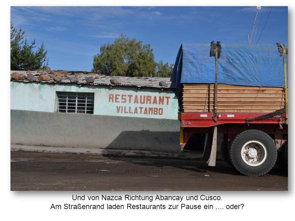 Und von Nazca Richtung Abancay und Cusco. Am Straßenrand laden Restaurants zur Pause ein.... oder?