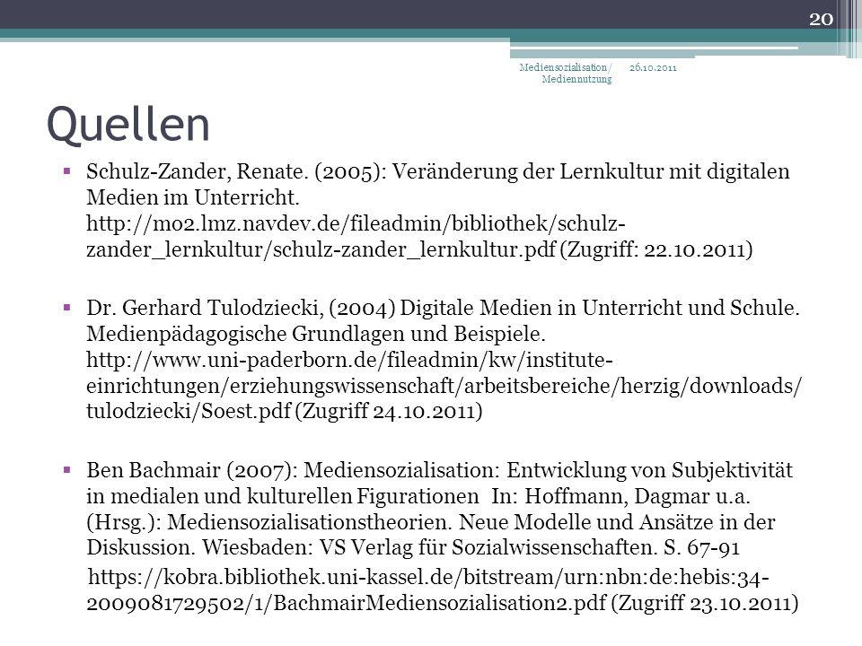 Quellen Schulz-Zander, Renate.