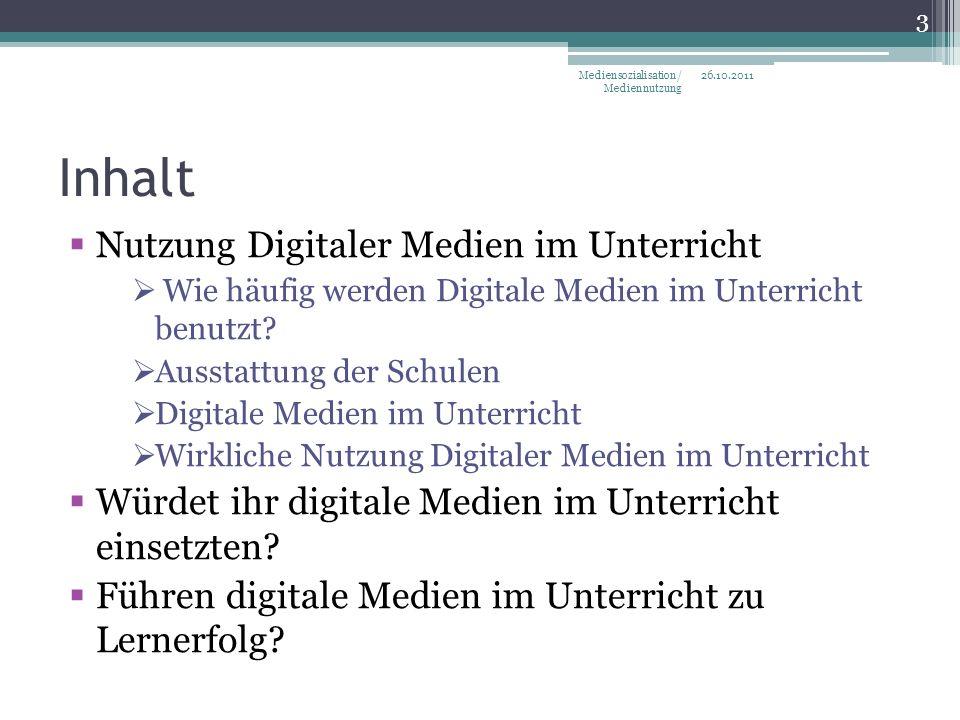 Inhalt Nutzung Digitaler Medien im Unterricht Wie häufig werden Digitale Medien im Unterricht benutzt.