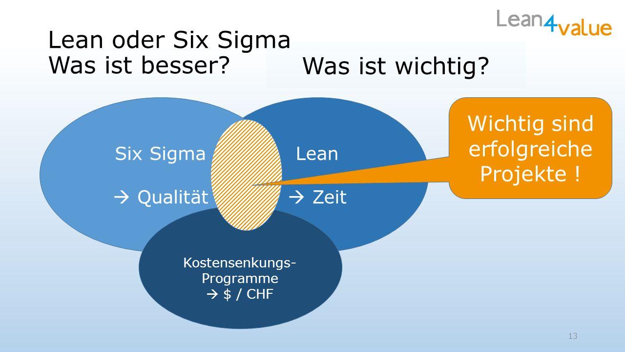 Lean oder Six Sigma Was ist besser? Lean Zeit Six Sigma Qualität Kostensenkungs- Programme $ / CHF Wichtig sind erfolgreiche Projekte ! 13 Was ist wic