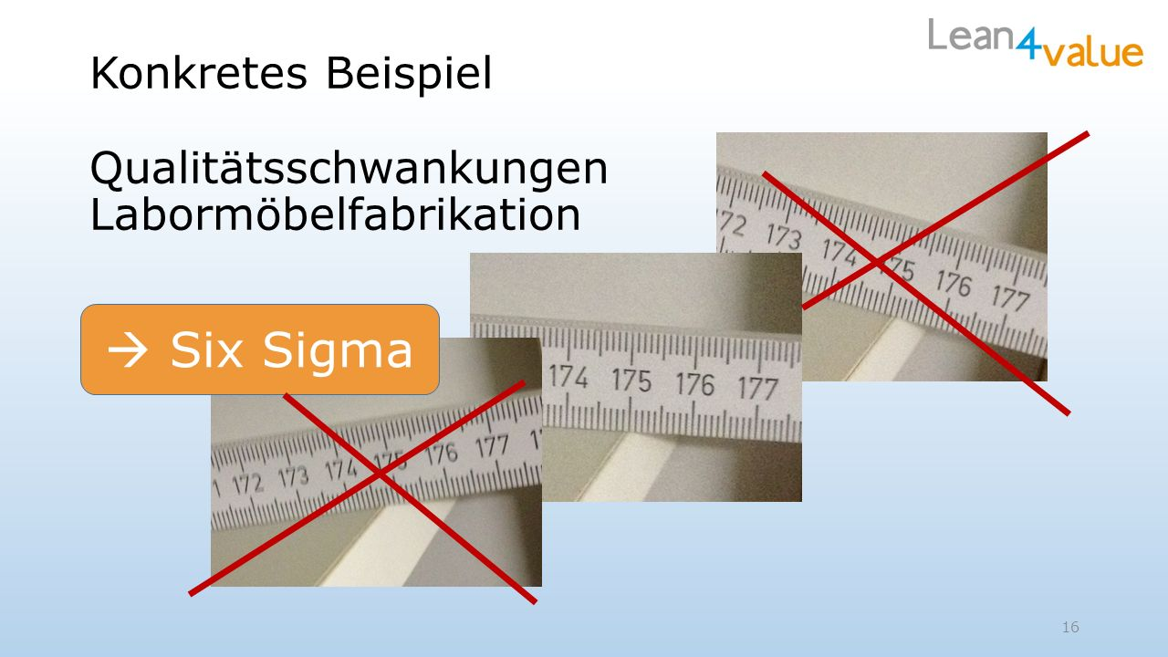 16 Konkretes Beispiel Qualitätsschwankungen Labormöbelfabrikation Six Sigma
