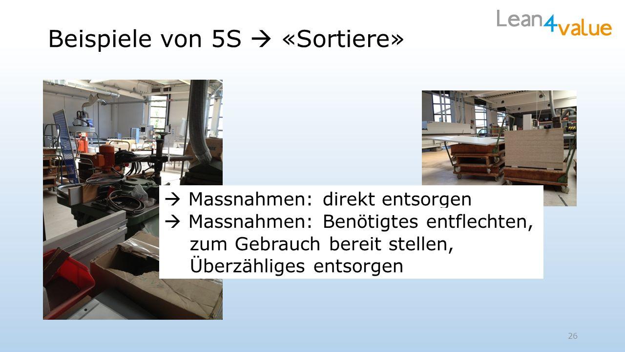 Beispiele von 5S «Sortiere» Massnahmen: direkt entsorgen 26 Massnahmen: Benötigtes entflechten, zum Gebrauch bereit stellen, Überzähliges entsorgen