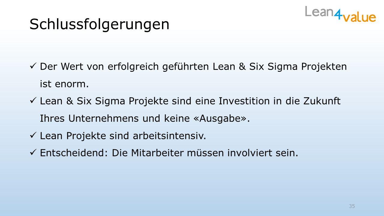 Schlussfolgerungen Der Wert von erfolgreich geführten Lean & Six Sigma Projekten ist enorm. Lean & Six Sigma Projekte sind eine Investition in die Zuk
