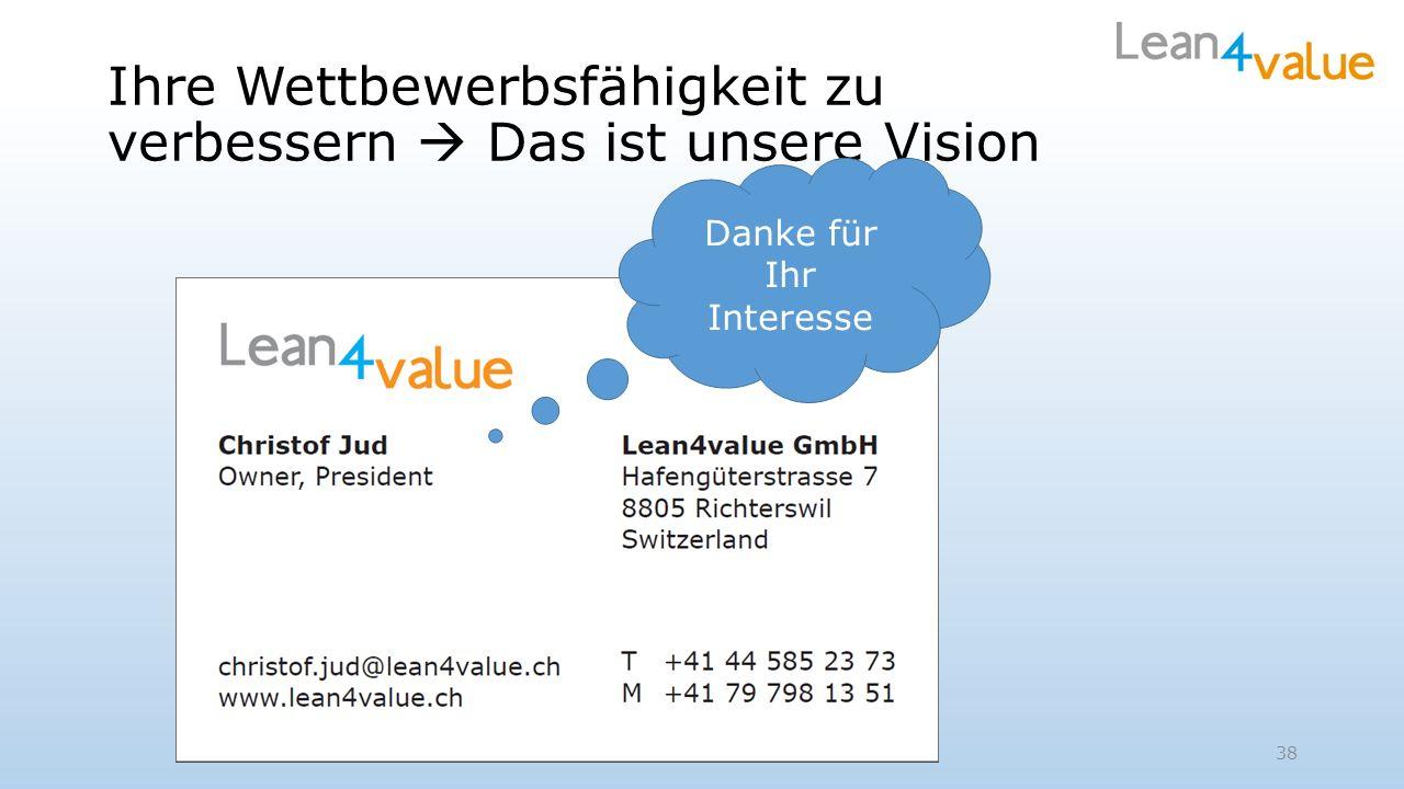 Ihre Wettbewerbsfähigkeit zu verbessern Das ist unsere Vision 38 Danke für Ihr Interesse