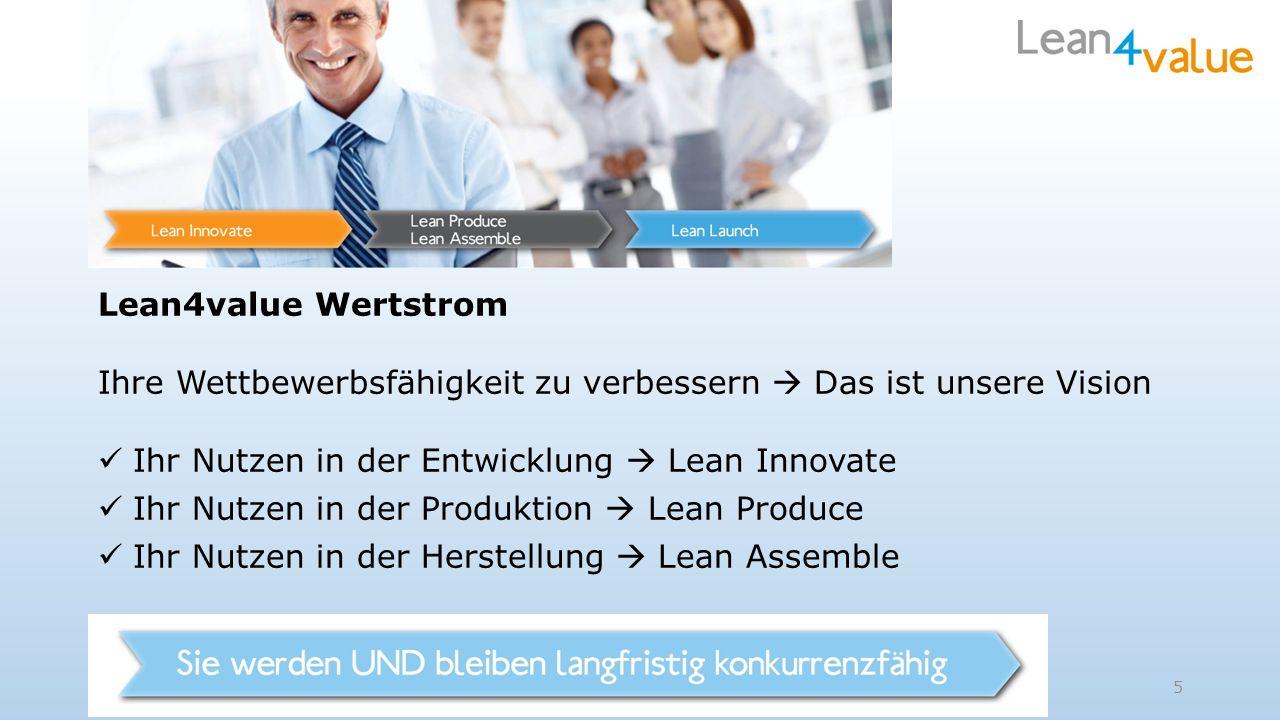 Lean4value Wertstrom Ihre Wettbewerbsfähigkeit zu verbessern Das ist unsere Vision Ihr Nutzen in der Entwicklung Lean Innovate Ihr Nutzen in der Produktion Lean Produce Ihr Nutzen in der Herstellung Lean Assemble 5