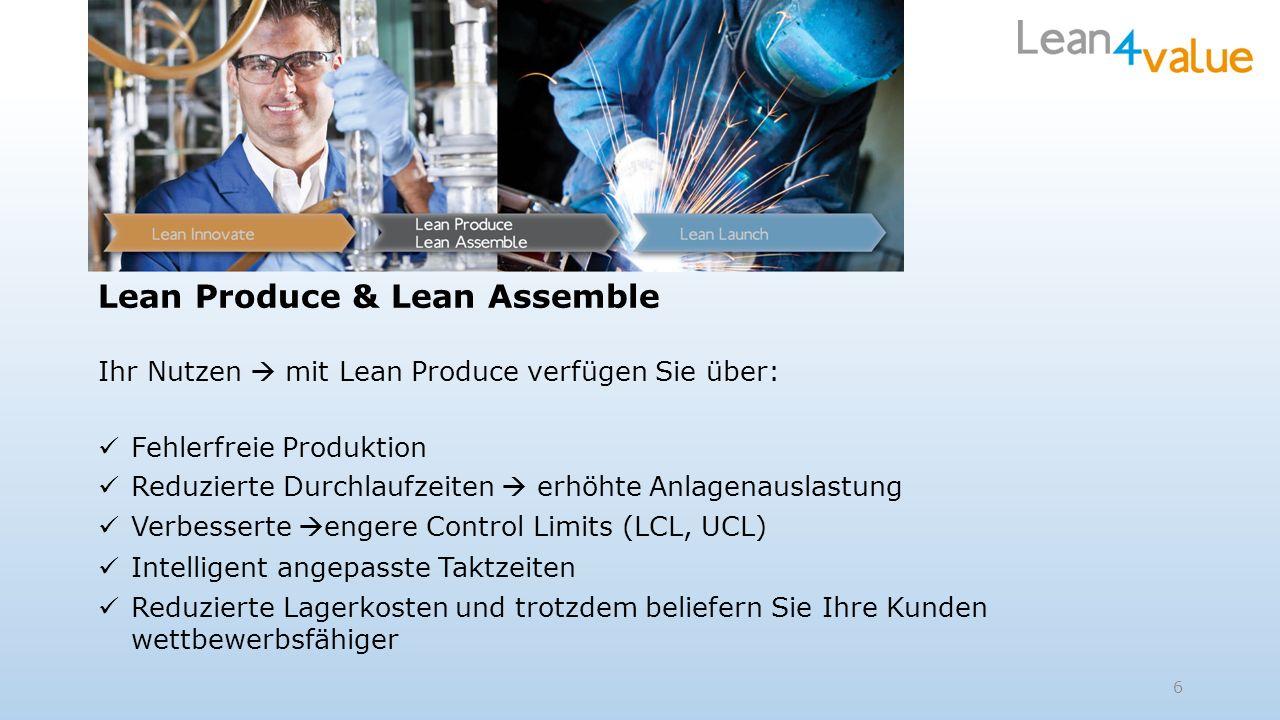 Lean Produce & Lean Assemble Ihr Nutzen mit Lean Produce verfügen Sie über: Fehlerfreie Produktion Reduzierte Durchlaufzeiten erhöhte Anlagenauslastun