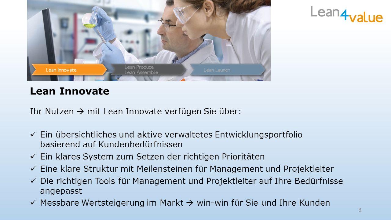 Lean Innovate Ihr Nutzen mit Lean Innovate verfügen Sie über: Ein übersichtliches und aktive verwaltetes Entwicklungsportfolio basierend auf Kundenbed