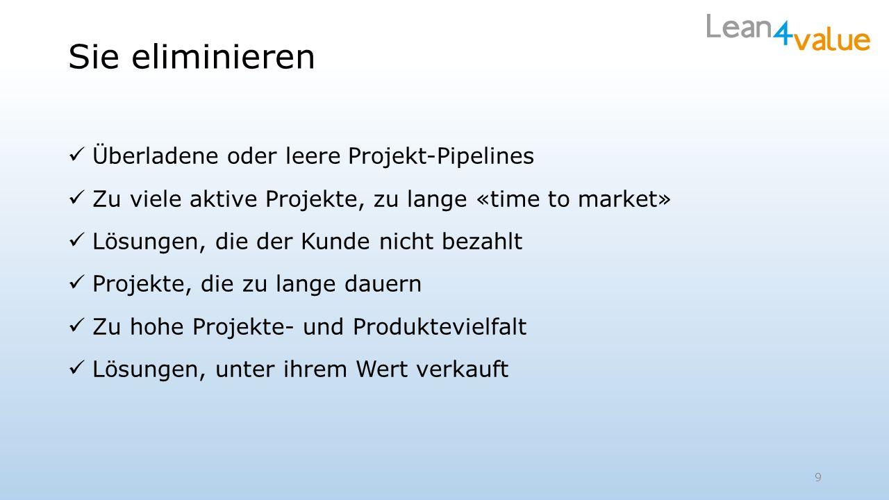Sie eliminieren Überladene oder leere Projekt-Pipelines Zu viele aktive Projekte, zu lange «time to market» Lösungen, die der Kunde nicht bezahlt Projekte, die zu lange dauern Zu hohe Projekte- und Produktevielfalt Lösungen, unter ihrem Wert verkauft 9