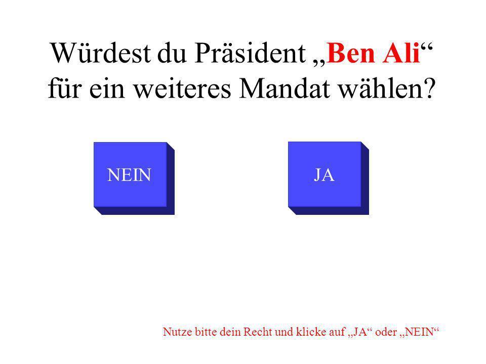Würdest du Präsident Ben Ali für ein weiteres Mandat wählen.