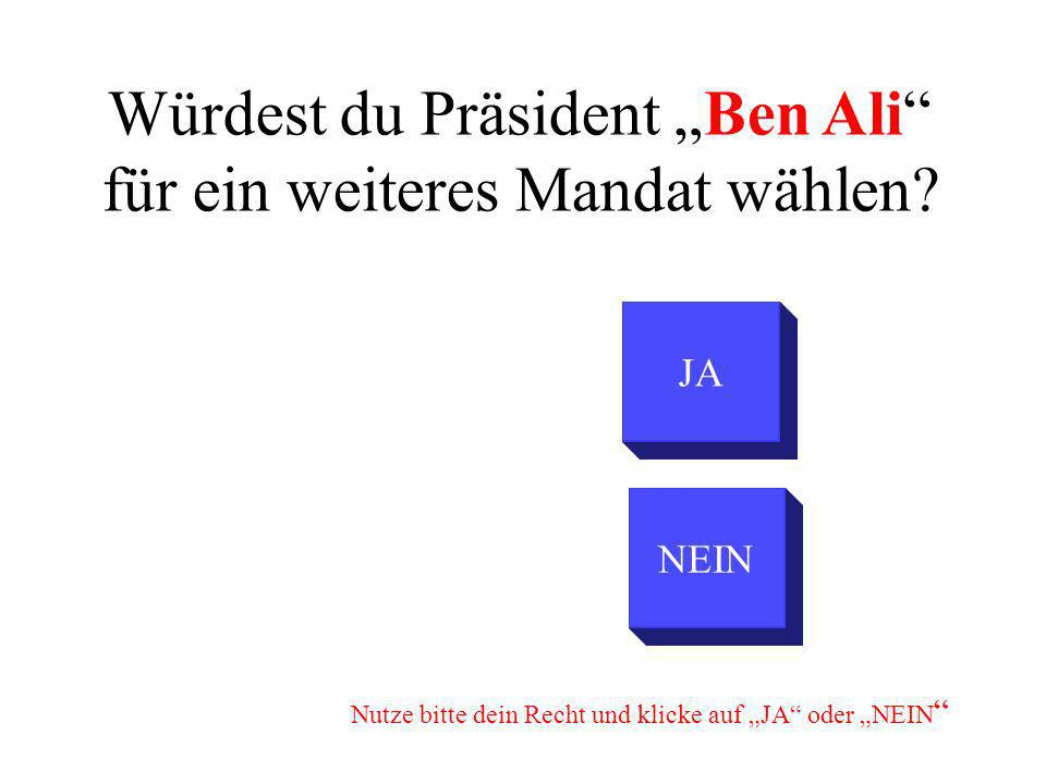 Würdest du Präsident Ben Ali für ein weiteres Mandat wählen? NEIN JA Nutze bitte dein Recht und klicke auf JA oder NEIN