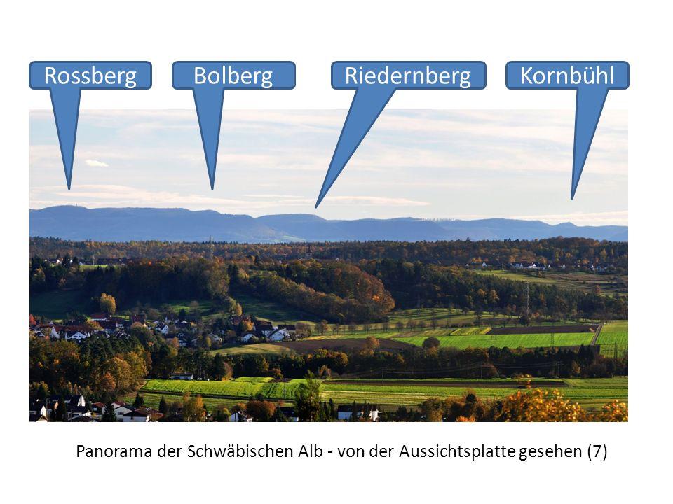Panorama der Schwäbischen Alb - von der Aussichtsplatte gesehen (7) RossbergKornbühlRiedernbergBolberg