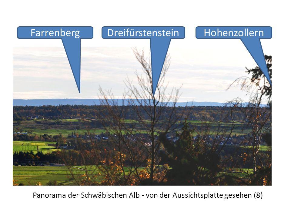 Panorama der Schwäbischen Alb - von der Aussichtsplatte gesehen (8) DreifürstensteinHohenzollernFarrenberg