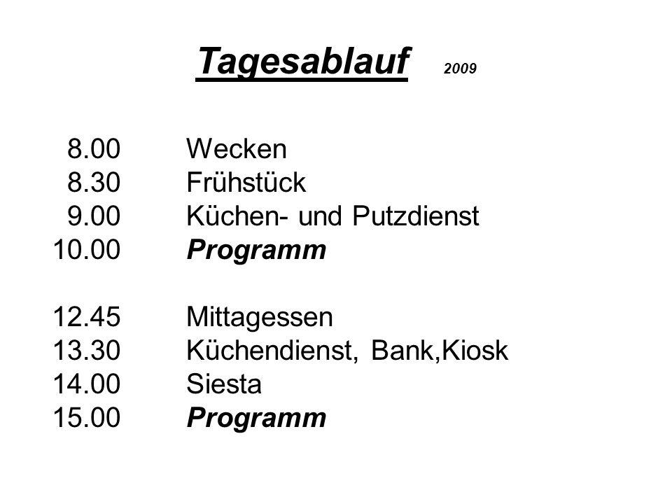 Mitbringliste 2009 Neben sommerlicher, auch warme, regenfeste Kleidung festes Schuhwerk (wir sind in bergigem Gelände) Sportschuhe Regenjacke Sport- u.