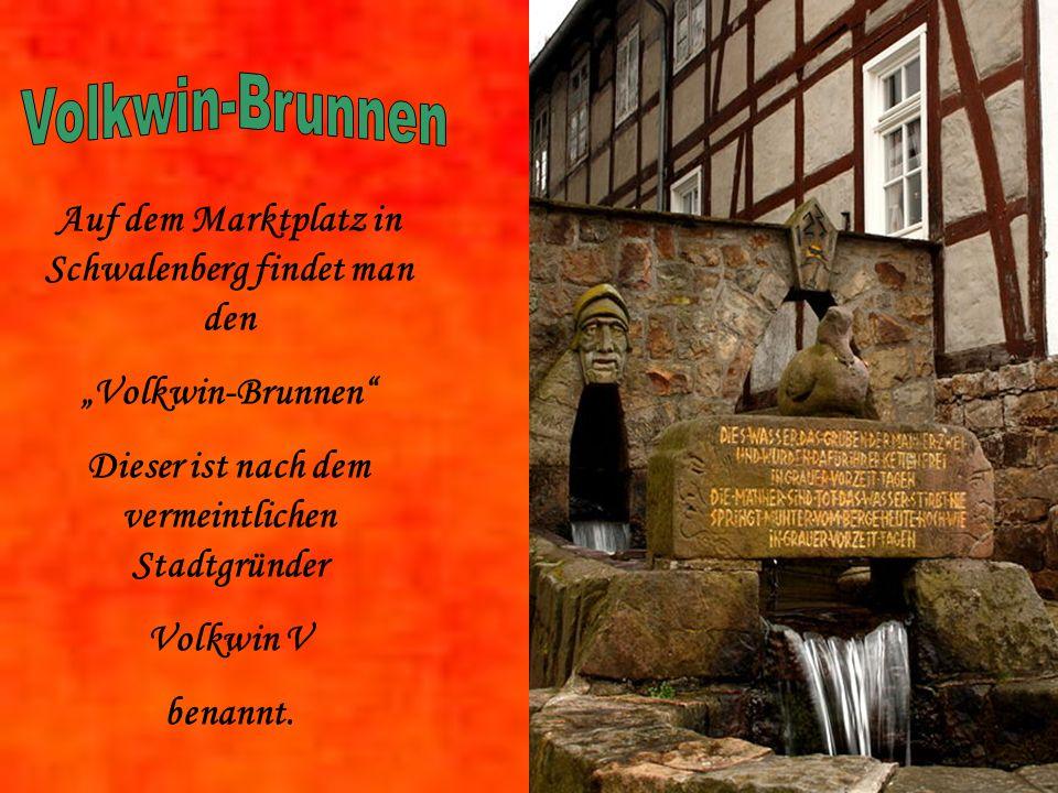 Auf dem Marktplatz in Schwalenberg findet man den Volkwin-Brunnen Dieser ist nach dem vermeintlichen Stadtgründer Volkwin V benannt.