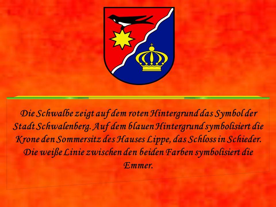 Die Schwalbe zeigt auf dem roten Hintergrund das Symbol der Stadt Schwalenberg.