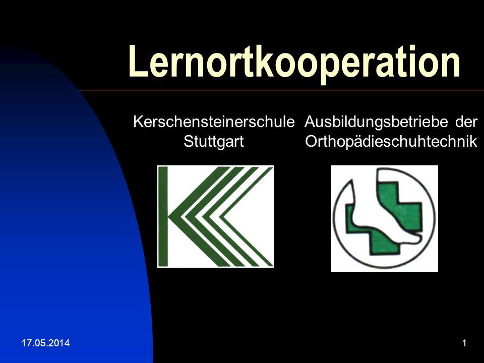 17.05.20141 Lernortkooperation Kerschensteinerschule Stuttgart Ausbildungsbetriebe der Orthopädieschuhtechnik
