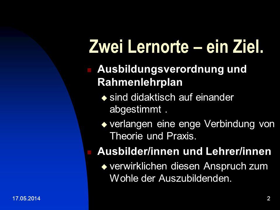 17.05.20142 Zwei Lernorte – ein Ziel.