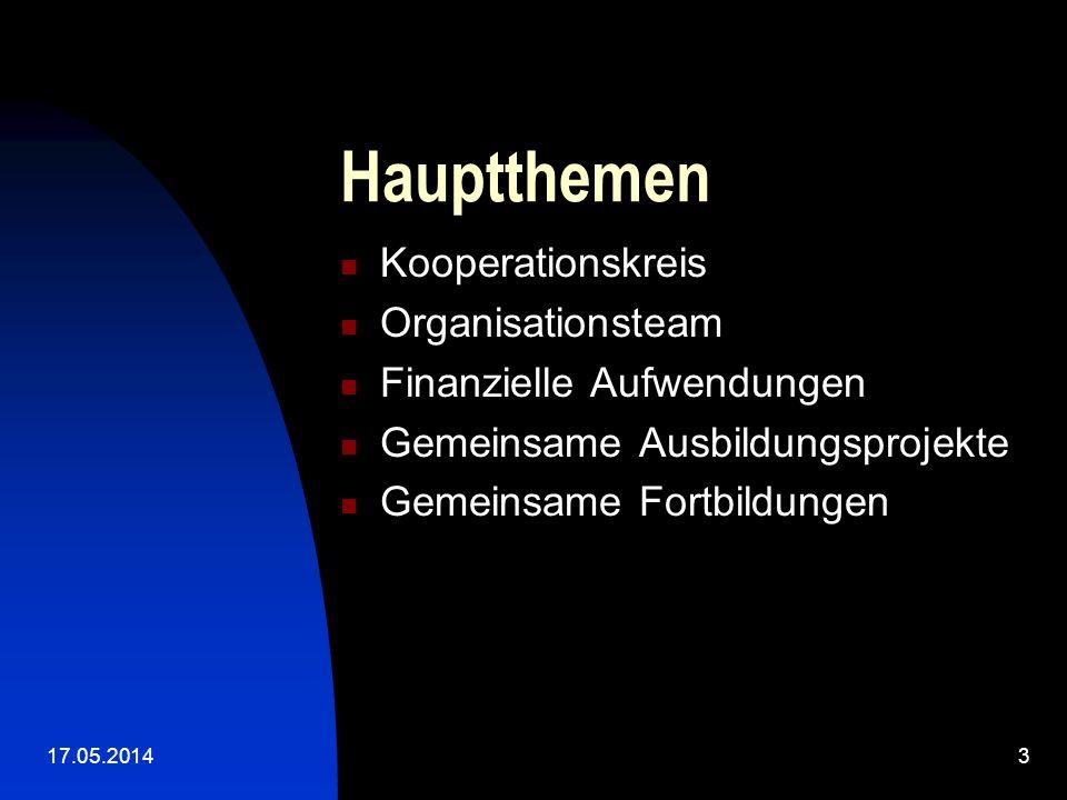 17.05.20143 Hauptthemen Kooperationskreis Organisationsteam Finanzielle Aufwendungen Gemeinsame Ausbildungsprojekte Gemeinsame Fortbildungen