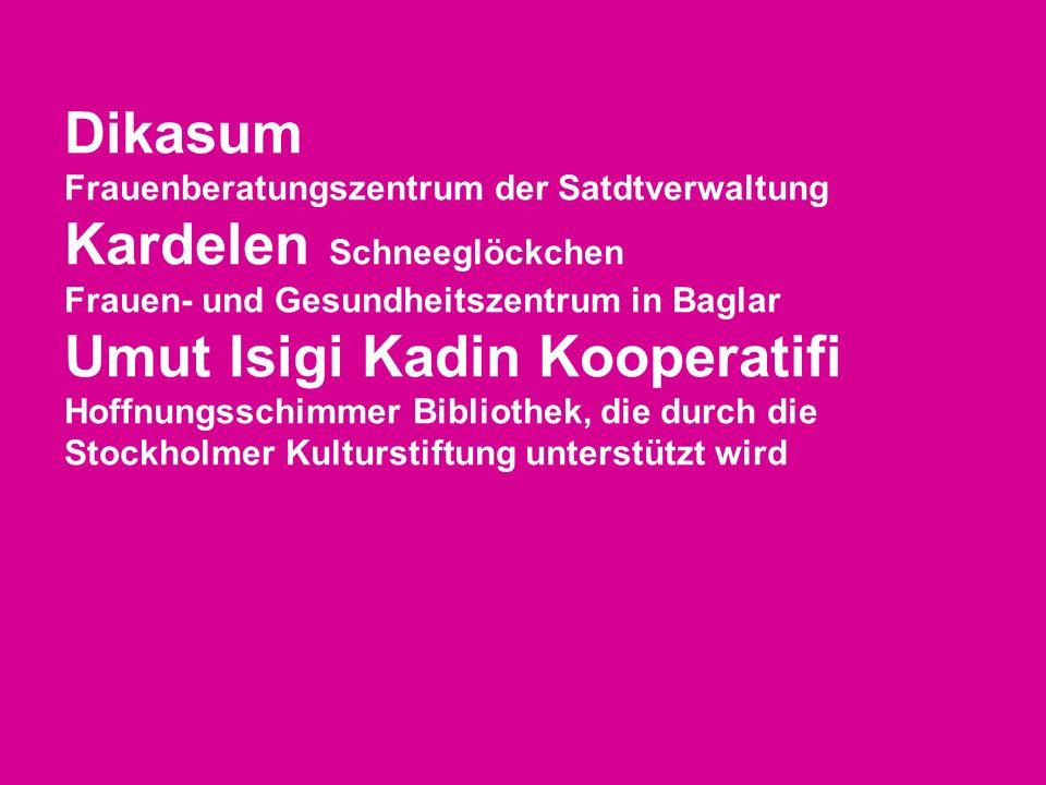 Dikasum Frauenberatungszentrum der Satdtverwaltung Kardelen Schneeglöckchen Frauen- und Gesundheitszentrum in Baglar Umut Isigi Kadin Kooperatifi Hoff