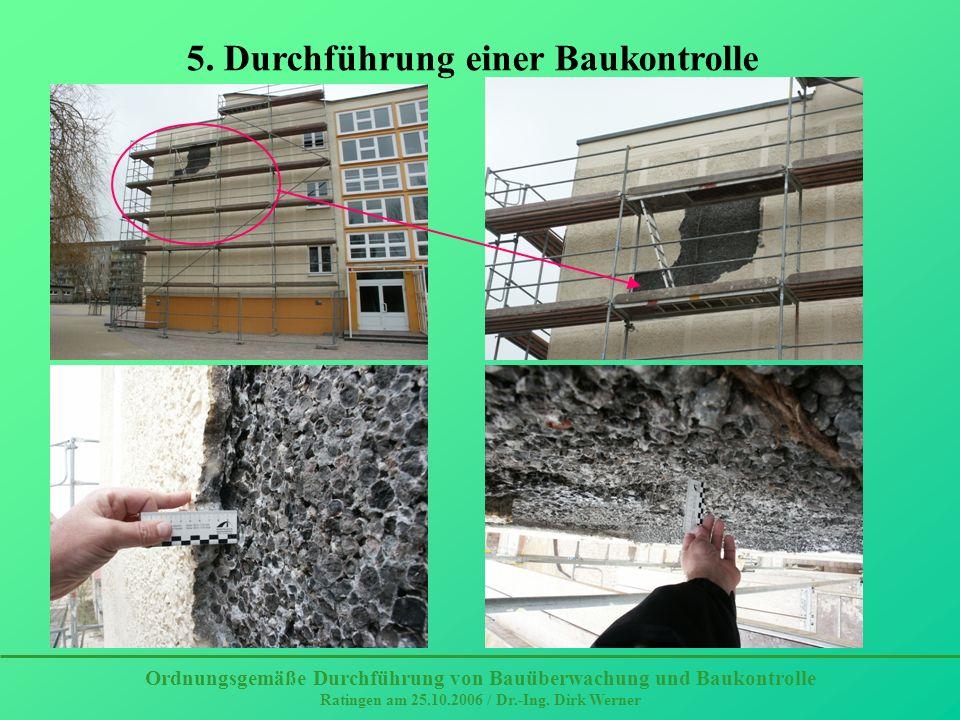 Schädigung durch Eisgang, Entdeckung durch Zufall Ordnungsgemäße Durchführung von Bauüberwachung und Baukontrolle Ratingen am 25.10.2006 / Dr.-Ing.