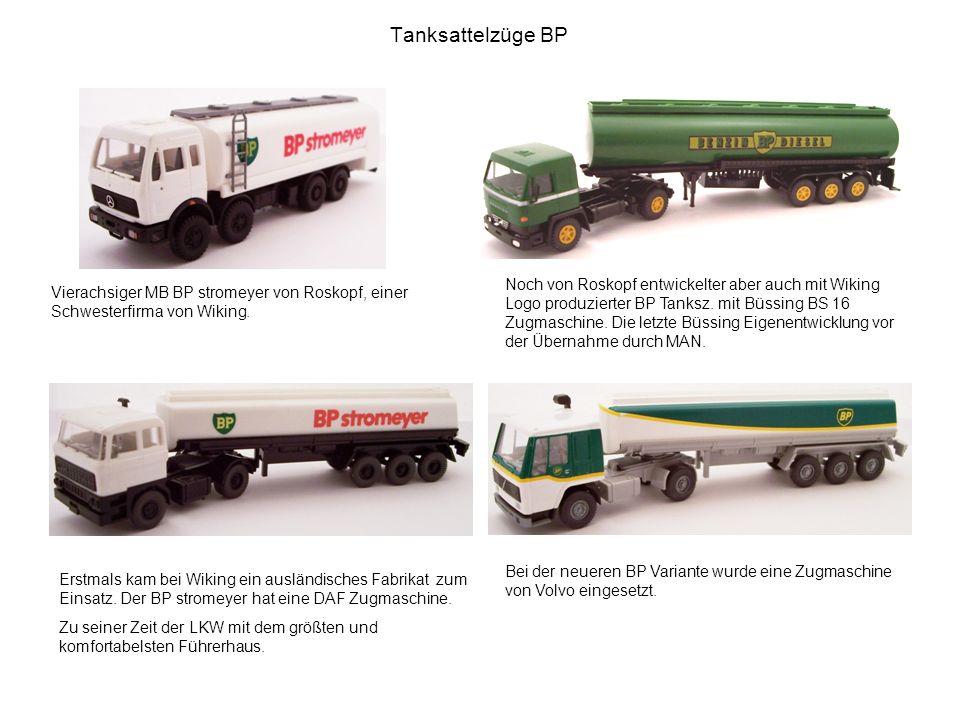 Tanksattelzüge BP Noch von Roskopf entwickelter aber auch mit Wiking Logo produzierter BP Tanksz. mit Büssing BS 16 Zugmaschine. Die letzte Büssing Ei