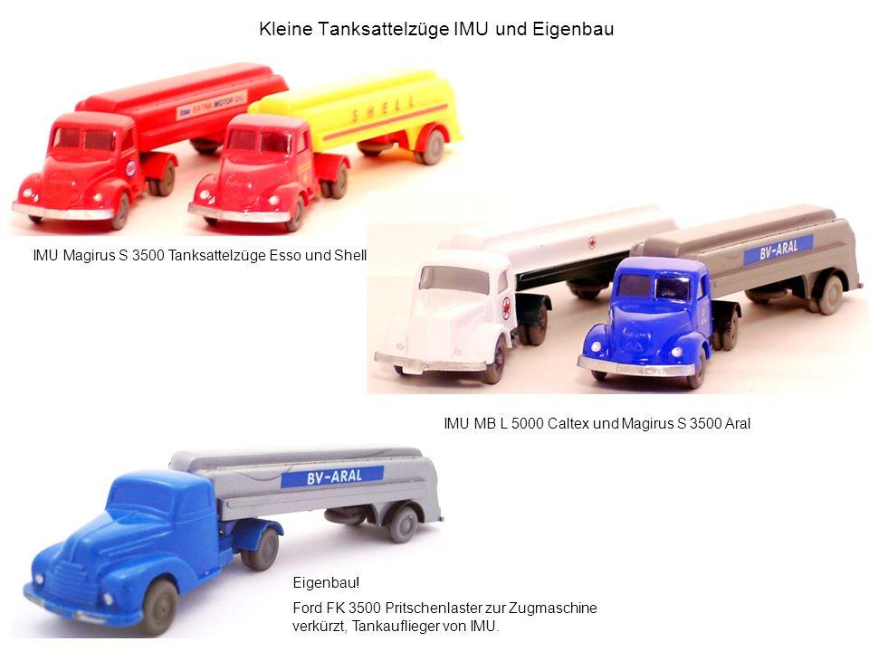 Kleine Tanksattelzüge IMU und Eigenbau Eigenbau! Ford FK 3500 Pritschenlaster zur Zugmaschine verkürzt, Tankauflieger von IMU. IMU Magirus S 3500 Tank