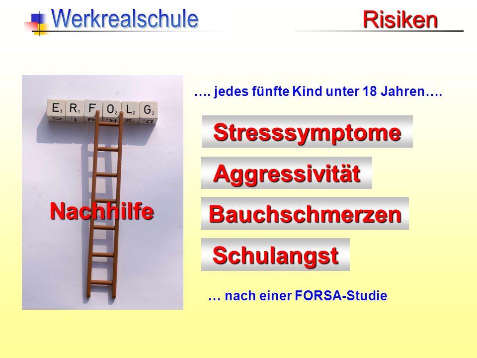 Risiken Stresssymptome Aggressivität Schulangst Nachhilfe Bauchschmerzen …. jedes fünfte Kind unter 18 Jahren…. … nach einer FORSA-Studie