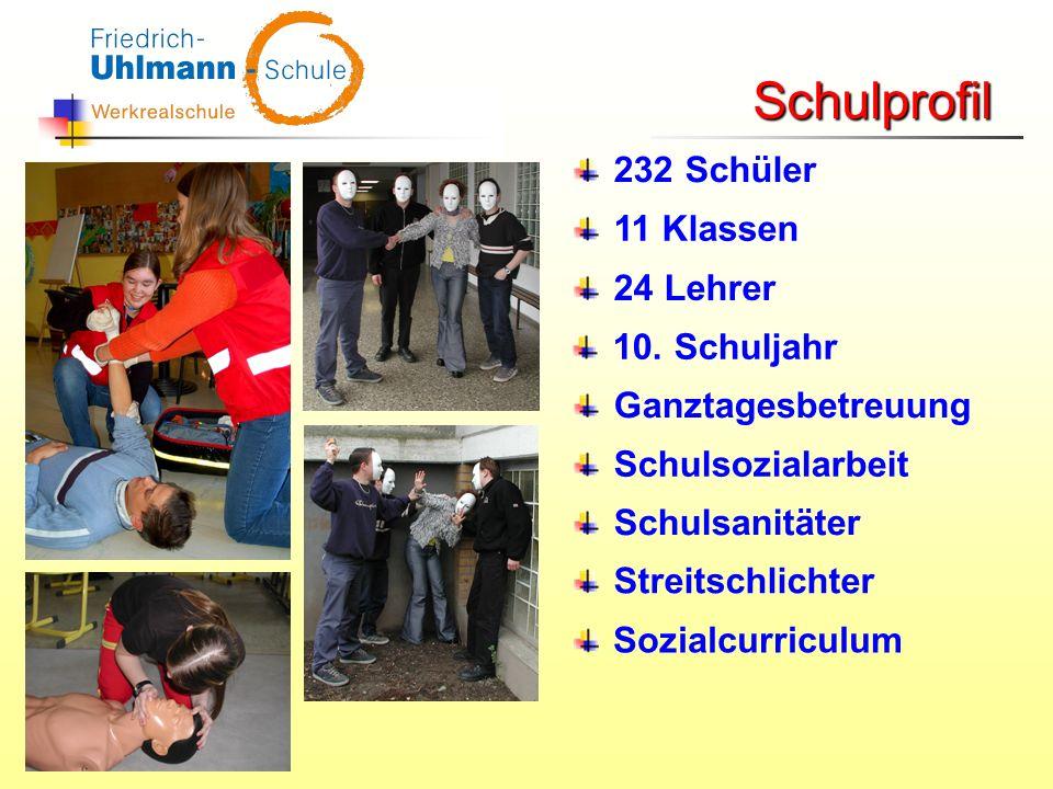 232 Schüler 11 Klassen 24 Lehrer 10. Schuljahr Ganztagesbetreuung Schulsozialarbeit Schulsanitäter Streitschlichter Schulprofil Sozialcurriculum