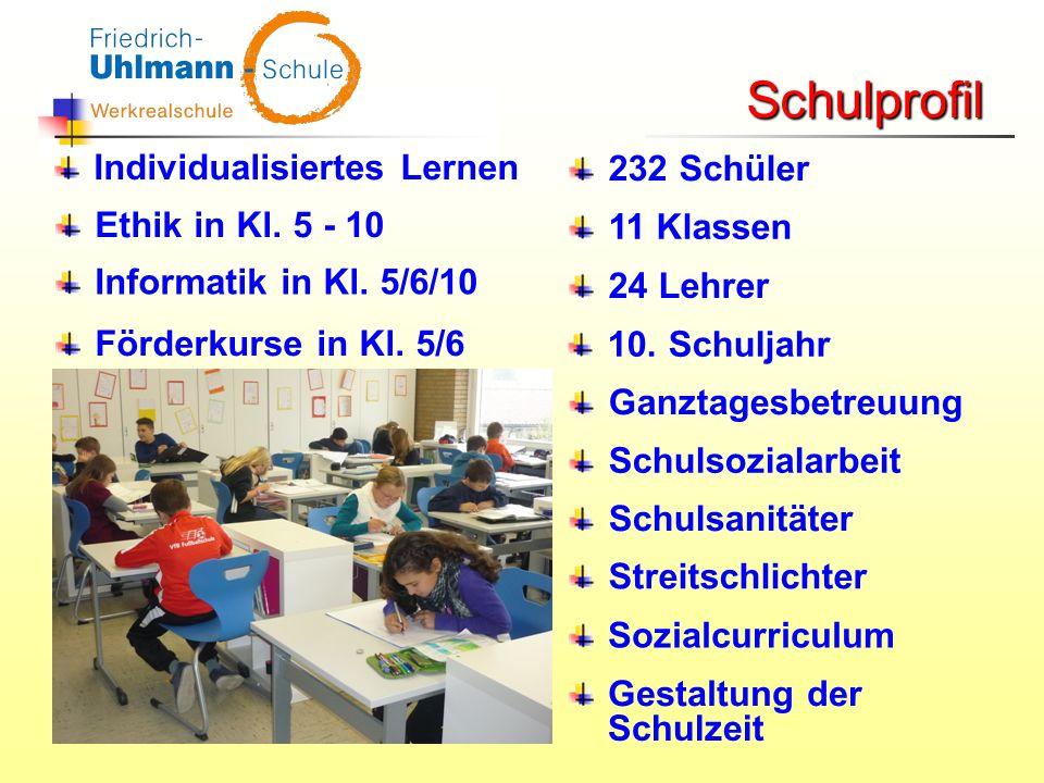 232 Schüler 11 Klassen 24 Lehrer 10. Schuljahr Ganztagesbetreuung Schulsozialarbeit Schulsanitäter Streitschlichter Gestaltung der Schulzeit Schulprof