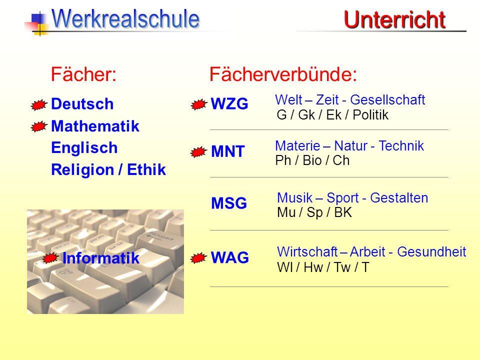 Deutsch Mathematik Englisch Religion / Ethik MNT MSG WAG Fächer:Fächerverbünde: Materie – Natur - Technik Musik – Sport - Gestalten Wirtschaft – Arbei