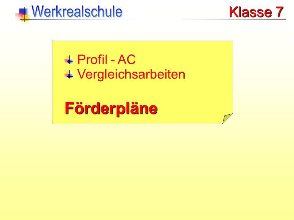 Klasse 7 Profil - AC Förderpläne Vergleichsarbeiten
