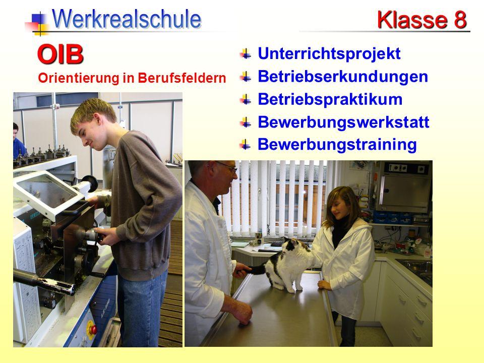 Unterrichtsprojekt Betriebserkundungen Betriebspraktikum Bewerbungswerkstatt Bewerbungstraining OIB Orientierung in Berufsfeldern