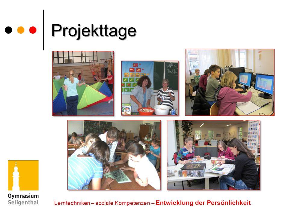 Projekttage Lerntechniken – soziale Kompetenzen – Entwicklung der Persönlichkeit
