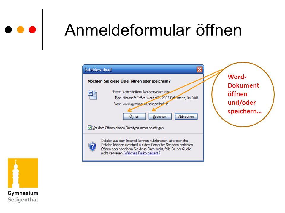 Anmeldeformular öffnen Word- Dokument öffnen und/oder speichern…