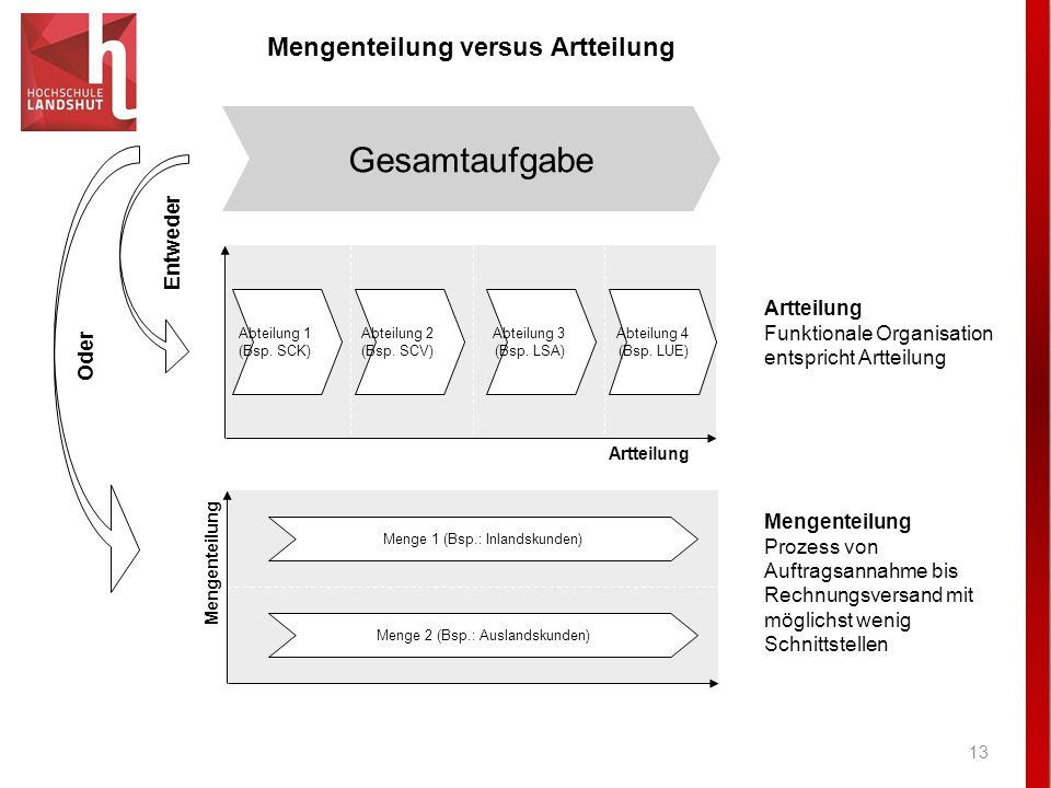 13 Mengenteilung versus Artteilung Gesamtaufgabe Entweder Artteilung Funktionale Organisation entspricht Artteilung Abteilung 1 (Bsp. SCK) Abteilung 2
