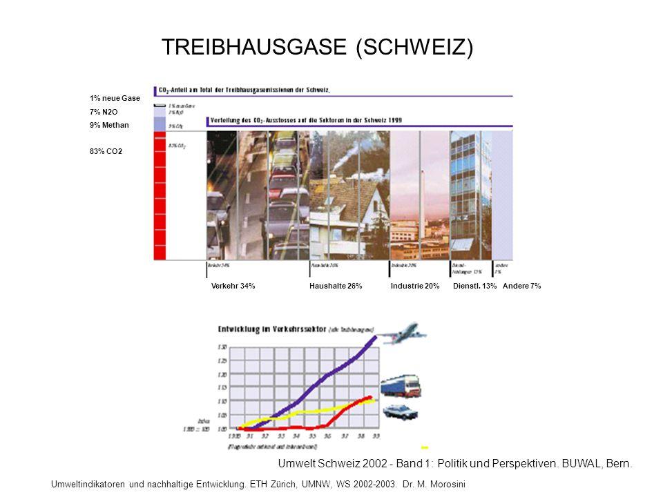 Umweltindikatoren und nachhaltige Entwicklung. ETH Zürich, UMNW, WS 2002-2003. Dr. M. Morosini 1% neue Gase 7% N2O 9% Methan 83% CO2 Verkehr 34% Haush