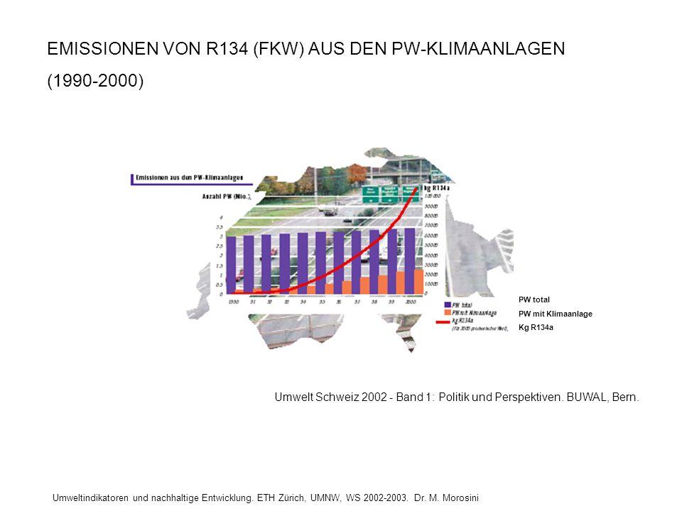 Umweltindikatoren und nachhaltige Entwicklung. ETH Zürich, UMNW, WS 2002-2003. Dr. M. Morosini EMISSIONEN VON R134 (FKW) AUS DEN PW-KLIMAANLAGEN (1990