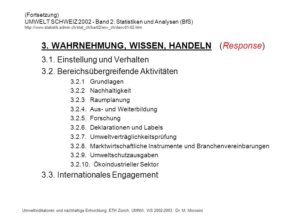 Umweltindikatoren und nachhaltige Entwicklung. ETH Zürich, UMNW, WS 2002-2003. Dr. M. Morosini (Fortsetzung) UMWELT SCHWEIZ 2002 - Band 2: Statistiken