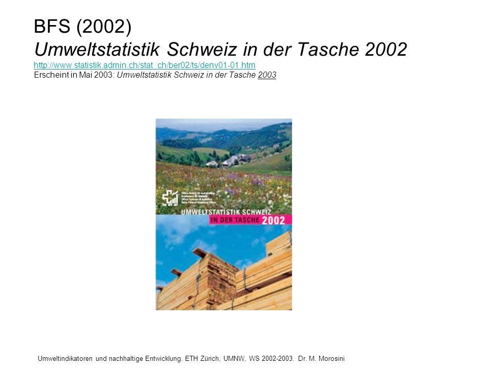 Umweltindikatoren und nachhaltige Entwicklung. ETH Zürich, UMNW, WS 2002-2003. Dr. M. Morosini BFS (2002) Umweltstatistik Schweiz in der Tasche 2002 h