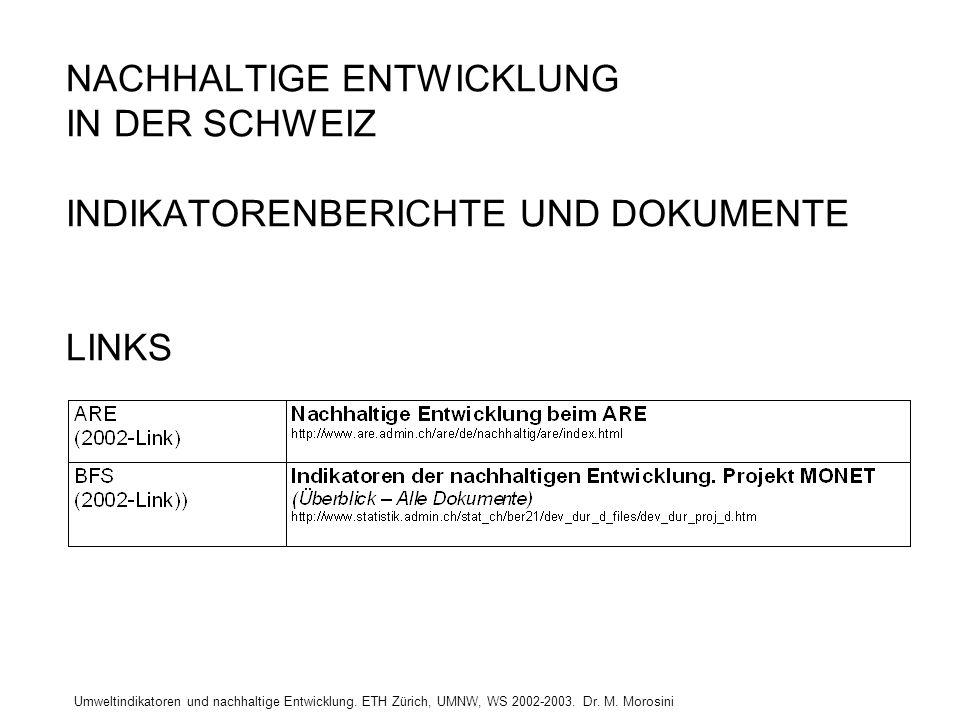 Umweltindikatoren und nachhaltige Entwicklung. ETH Zürich, UMNW, WS 2002-2003. Dr. M. Morosini NACHHALTIGE ENTWICKLUNG IN DER SCHWEIZ INDIKATORENBERIC
